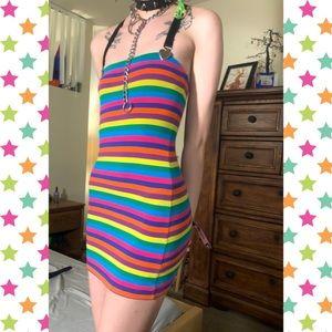 Dolls Kill Multicolored Form Fitting Dress, S
